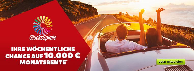 Spielen Sie GlücksSpirale und sichern Sie sich 10.000 Euro Monatsrente!*